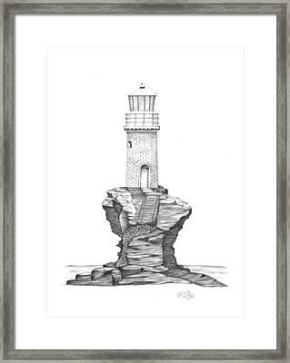 Tourlitis Lighthouse-greece Framed Print