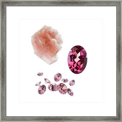 Tourmaline Gemstones And Crystal Framed Print