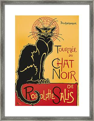 Tournee Du Chat Noir - Black Cat Tour Framed Print by RochVanh