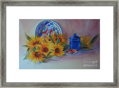 Framed Print featuring the painting Tournesols by Beatrice Cloake