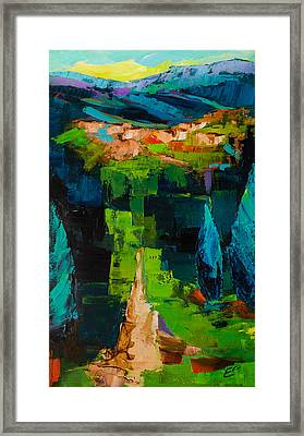 Toward The Tuscan Village Framed Print by Elise Palmigiani
