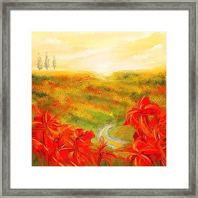 Towards The Brightness - Fields Of Poppies Painting Framed Print by Lourry Legarde