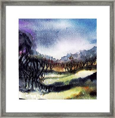 Towards The Misty Bogland  Framed Print by Trudi Doyle