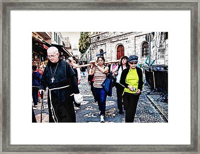 Towards The Via Dolorosa  Jerusalem Framed Print by Elena Comens