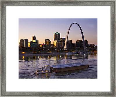 Towboat And Barge At St Louis Framed Print