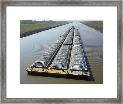 Towboat And Barges Chain Of Rocks Canal Framed Print