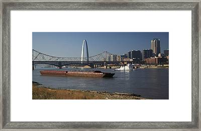 Towboat And Empty Barges In St Louis Framed Print