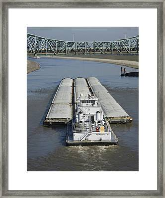 Towboat James Neal In The Chain Of Rocks Canal Framed Print