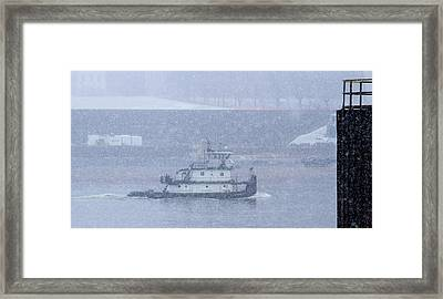 Towboat On The Mississippi River With Snow Framed Print