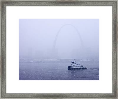 Towboat Working In The Snow St Louis Framed Print