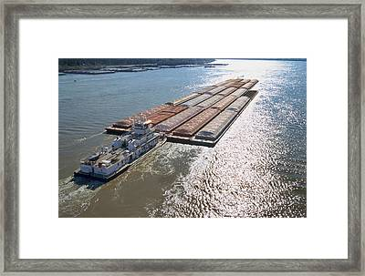 Towboats And Barges On The Mississippi Framed Print