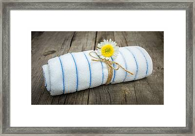 Towel With A Flower Framed Print