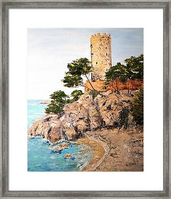 Framed Print featuring the painting Tower At Playa De Aro by Marilyn Zalatan