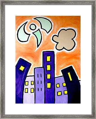 Tower Blocks Orange Framed Print