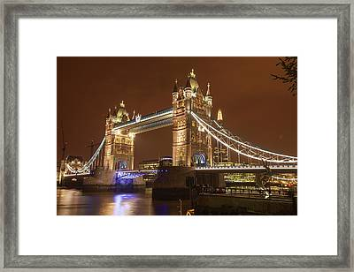 Tower Bridge At Night Framed Print by Ashley Cooper