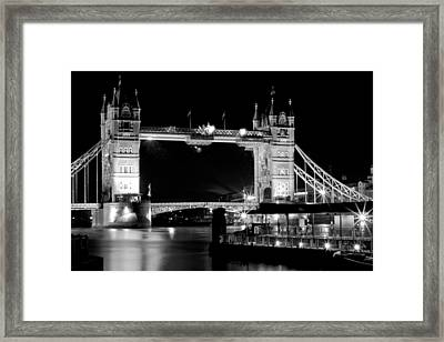 Framed Print featuring the photograph Tower Bridge At Night by Maj Seda