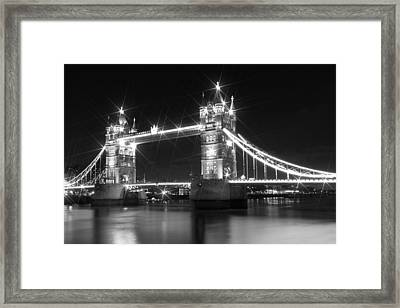 Tower Bridge By Night - Black And White Framed Print