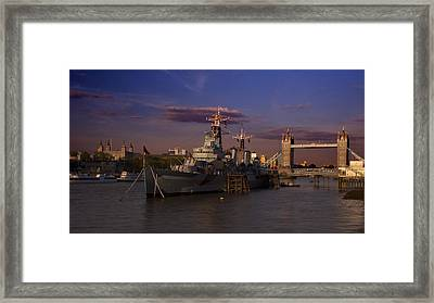 Tower  Bridge Hms Belfast Tower Of London Framed Print