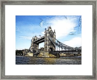 Tower Bridge London Digital Painting Framed Print by Georgeta Blanaru