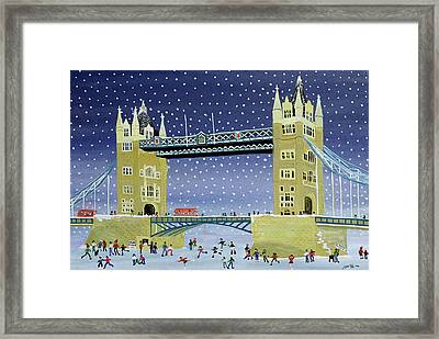 Tower Bridge Skating On Thin Ice Framed Print by Judy Joel