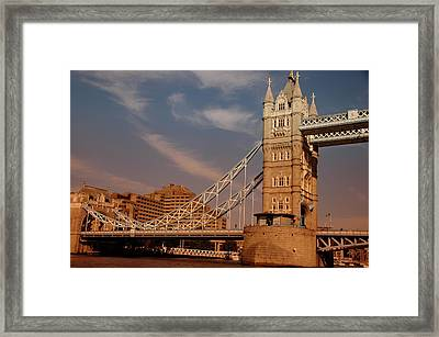 Framed Print featuring the photograph Tower Bridge Sunset by Jonah  Anderson