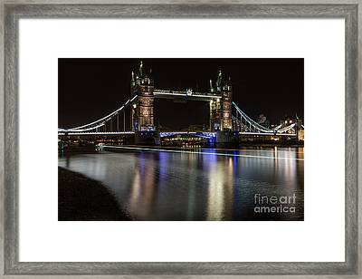 Tower Bridge With Boat Trails Framed Print