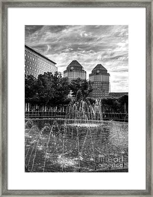 Tower Fountains Bw Framed Print
