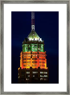 Tower Lit Up At Night, Tower Of The Framed Print