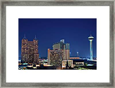 Tower Of America In San Antonio Texas City  Aerial Framed Print