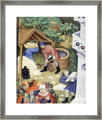 Tower Of Babel Builders, Bedford Hours Framed Print by British Library