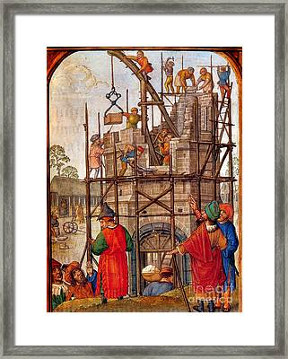 Tower Of Babel, Flemish Book Of Hours Framed Print by Photo Researchers