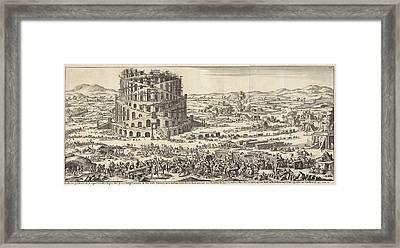 Tower Of Babel, Print Maker Jan Luyken, Willem Goeree Framed Print by Jan Luyken And Willem Goeree