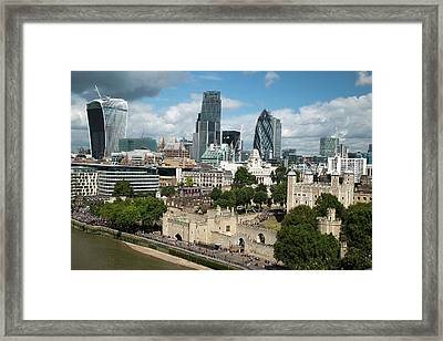 Tower Of London And City Skyscrapers Framed Print