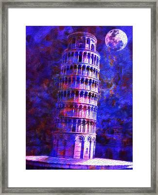Tower Of Pisa By Moonlight Framed Print