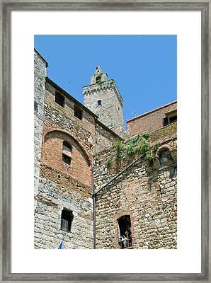 Tower Of San Gimignano, Unesco World Framed Print by Nico Tondini
