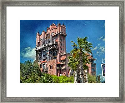 Tower Of Terror Disney World Textured Sky Framed Print by Thomas Woolworth