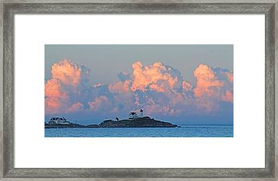 Towering Clouds Over Nubble Lighthouse York Maine Framed Print