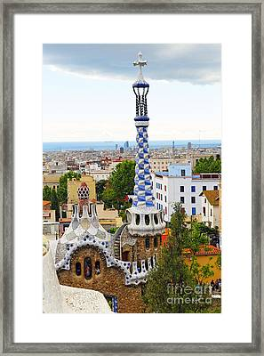 Towers Of Gaudi In Park Guell Framed Print by George Oze