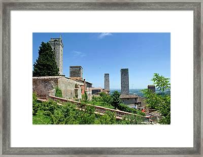 Towers Of San Gimignano, Unesco World Framed Print by Nico Tondini