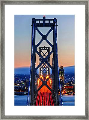 Towers Of The Bay Bridge Perfectly Aligned Framed Print