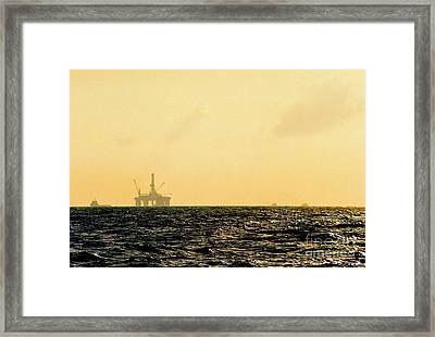 Towing A Platform In The Gulf Of Mexico Off The Coast Of Louisiana Framed Print by Michael Hoard