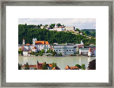 Town At The Waterfront, Inn River Framed Print by Panoramic Images