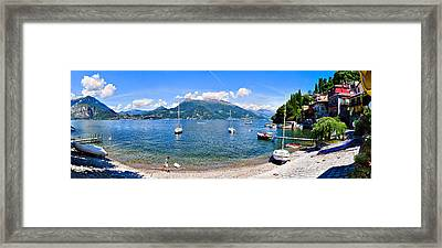 Town At The Waterfront, Lake Como Framed Print