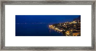 Town At The Waterfront, Limone Sul Framed Print