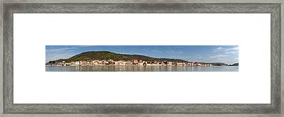 Town At The Waterfront, Rhone River Framed Print