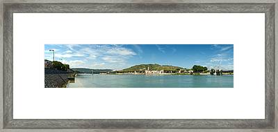 Town At The Waterfront, Vineyards Framed Print