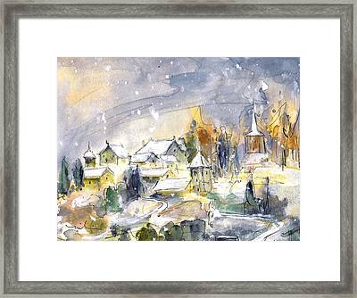 Town By The Rhine Falls In Switzerland Framed Print by Miki De Goodaboom