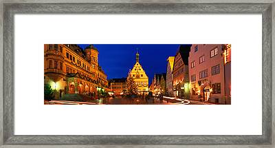 Town Center Decorated With Christmas Framed Print
