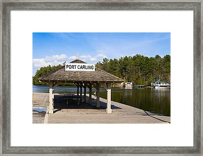 Town Dock And Cottages At Port Carling Framed Print