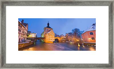 Town Hall In A City At Night, Bamberg Framed Print